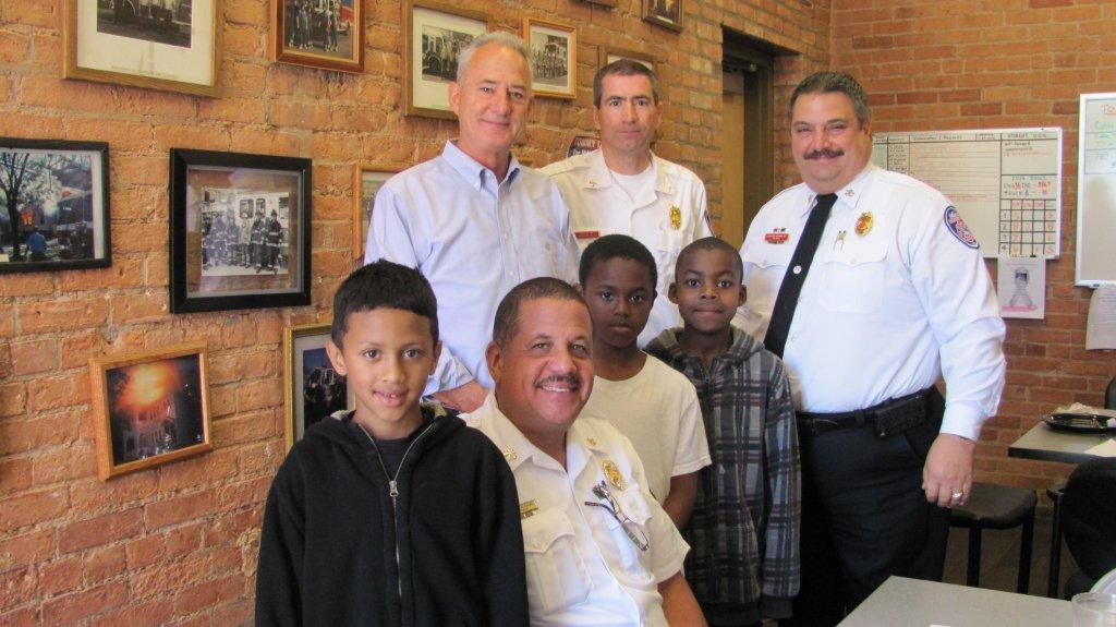 Home Fire Drill Poster Contest Winners at Firehouse