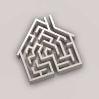 A maze in the shape of a house.